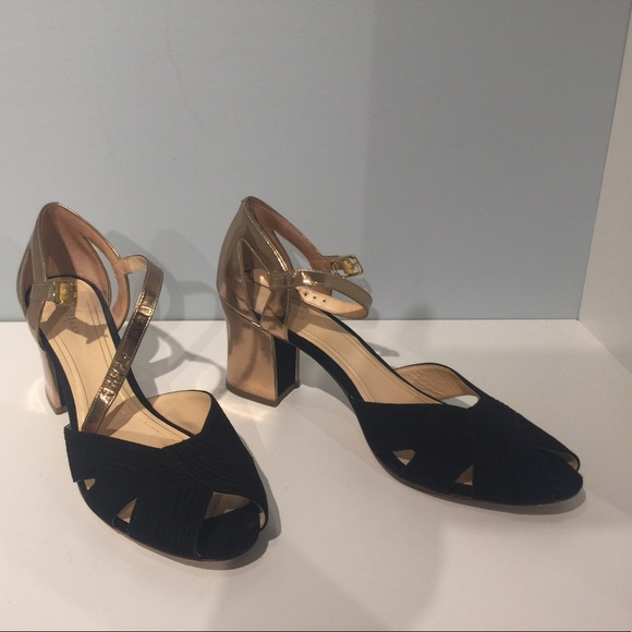 10567ab6a1c Cole Haan Shoes - Cole Haan Black Suede and Gold Peep Toe